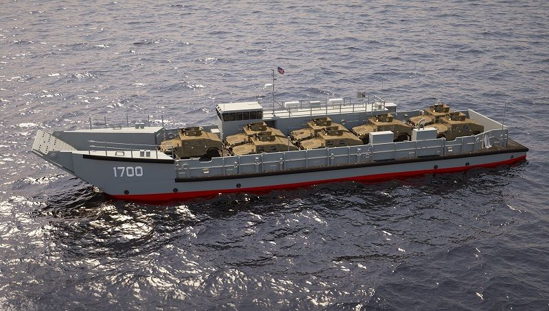 Swiftships received the US Navy's award earlier this year for the detail design and construction of the first Landing Craft Utility (LCU-1700) surface connector (above artist rendering).  (Image: Swiftships)