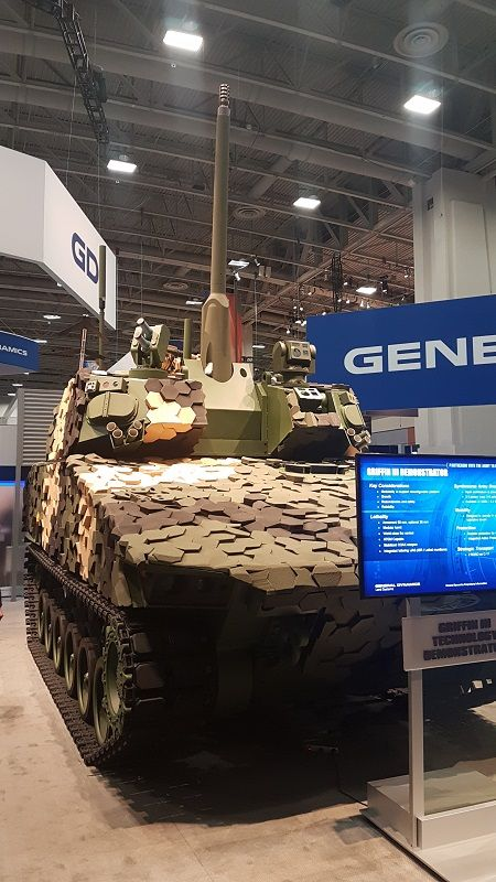GD is pushing the GRIFFIN III variant (seen here during AUSA 2018) of its MPF offering for the US Army Optionally Manned Fighting Vehicle (OMFV) competition, meant to replace thousands of M2 BRADLEYs. GRIFFIN II the MPF offering. (Photo: DPM)