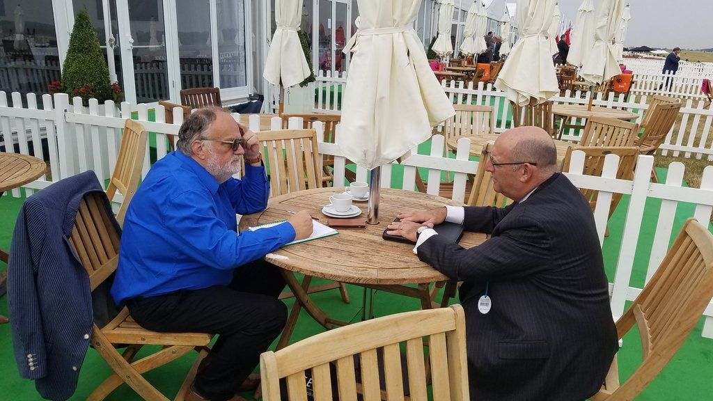 MTSC Editor Tim Mahon and CAE Group President Gene Colabatistto in conversation at the Royal International Air Tattoo 2018. (Photo: CAE)