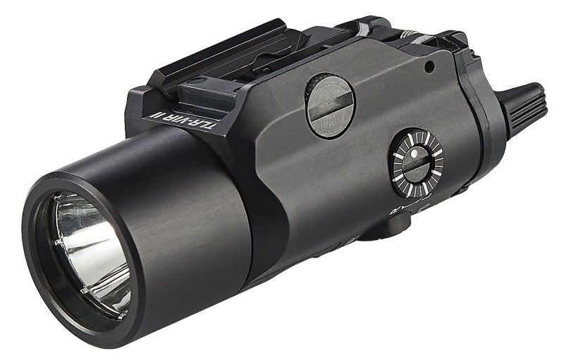 """Streamlight's newly introduced TLR-VIR II is a lightweight, compact rail-mounted tactical light with a high intensity white LED, an integrated infrared (IR) LED illuminator, and Class 1 """"Eye Safe"""" IR aiming laser with windage and elevation adjustment controls. The new light securely fits all long guns with MIL-STD-1913 rails and M17/M18 pistols."""