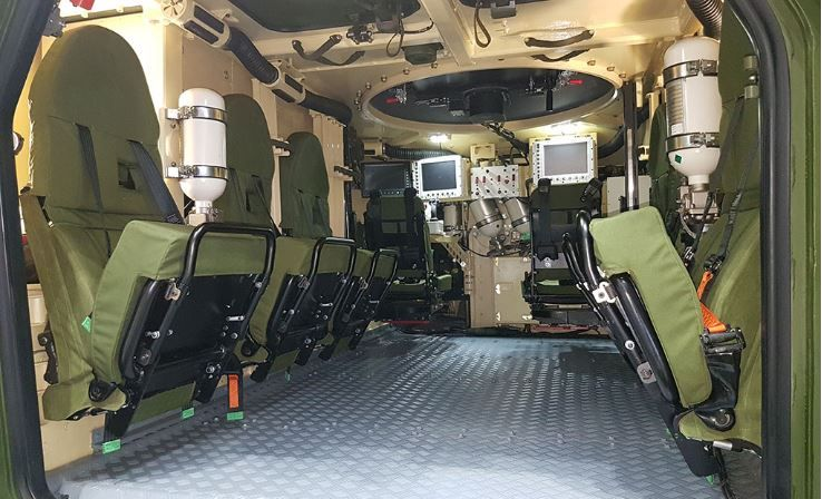 Protection measures include an underbelly deflector made of light composite material that channels the blast effect away from the crew. A floating floor buffers the remaining blast impact. Plasan's TERRA® EA seats have T-bar footrests that minimises shock transfer from the floor to the limbs. (Photo: Plasan)