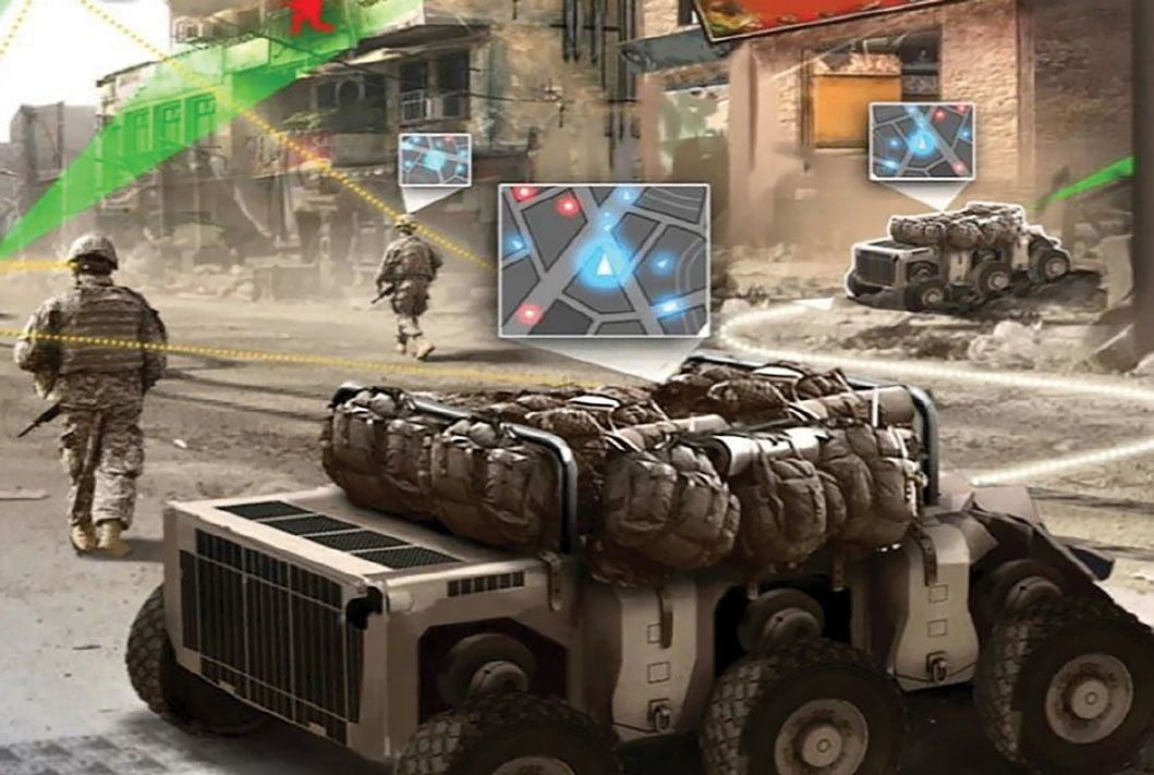 By 2025, the US Army sees ground troops conducting foot patrols in urban terrain with robots—called Squad Multipurpose Equipment Transport (SMET) vehicles—that carry rucksacks and other equipment. Unmanned aircraft could serve as spotters, according to the Army's new strategy for robotic and autonomous systems. (Image via author)
