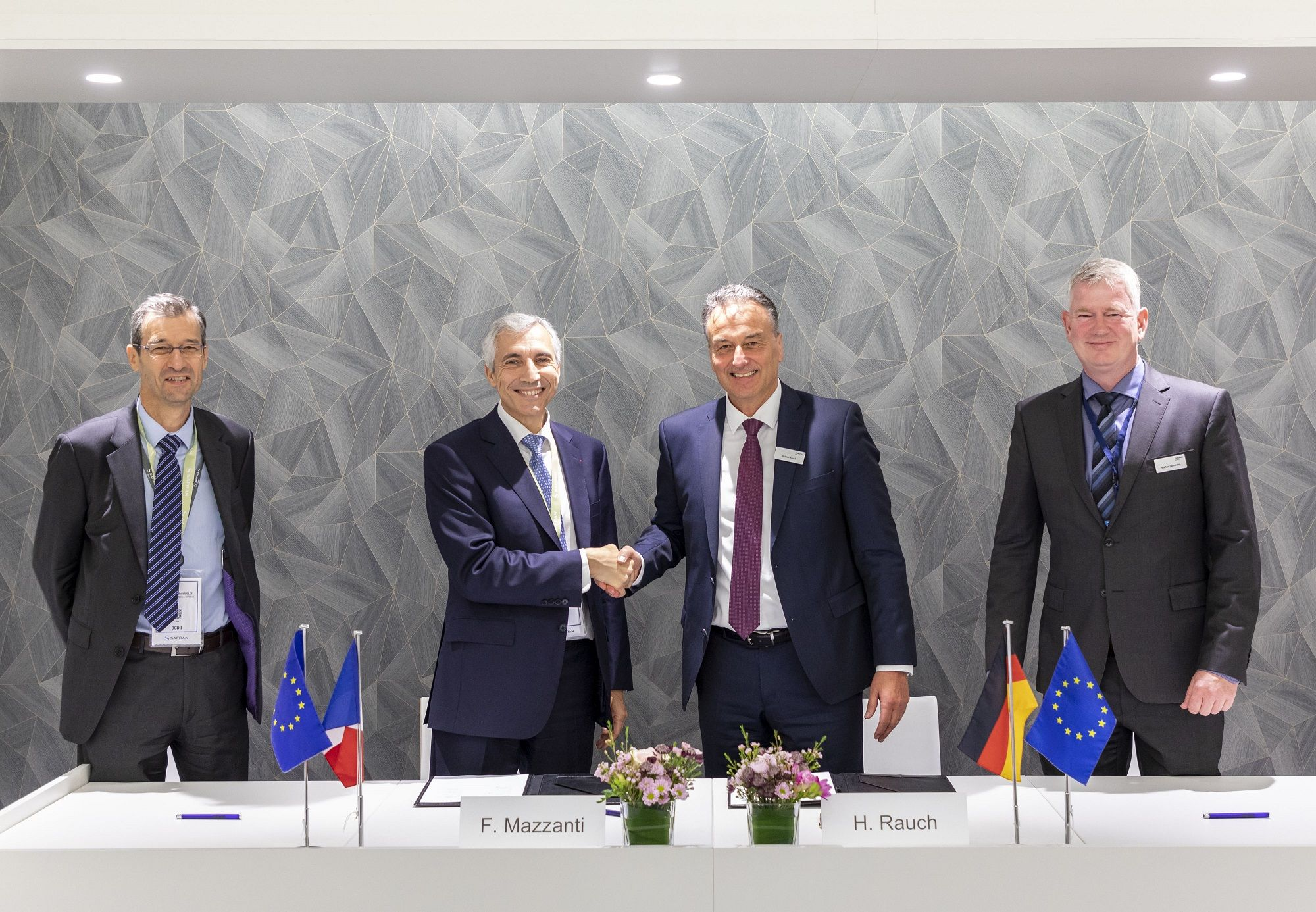 From left: Jean-Christophe Mugler, Senior VP Sales and Marketing, Safran Group; Frédéric Mazzanie, Executive VP Defense Division, Safron Group; Helmut Rauch, Chief Programme Officer, Diehl Defence; Markus Isphording, Head of Marketing Air Force Systems, Diehl Defence. (Photo: Diehl)
