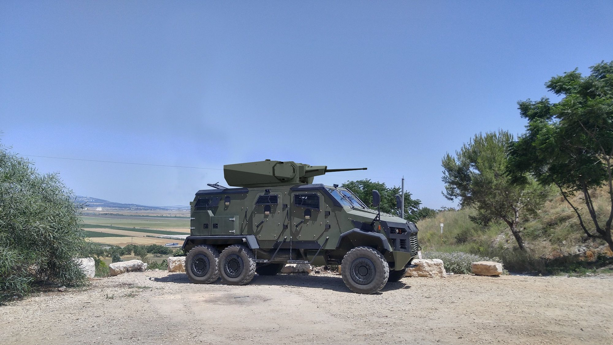 GAIA Automotive proposes affordable and flexible MRAPs. Pictured is an AMIR 6x6 armed with a remote weapon station. (Photo: GAIA)