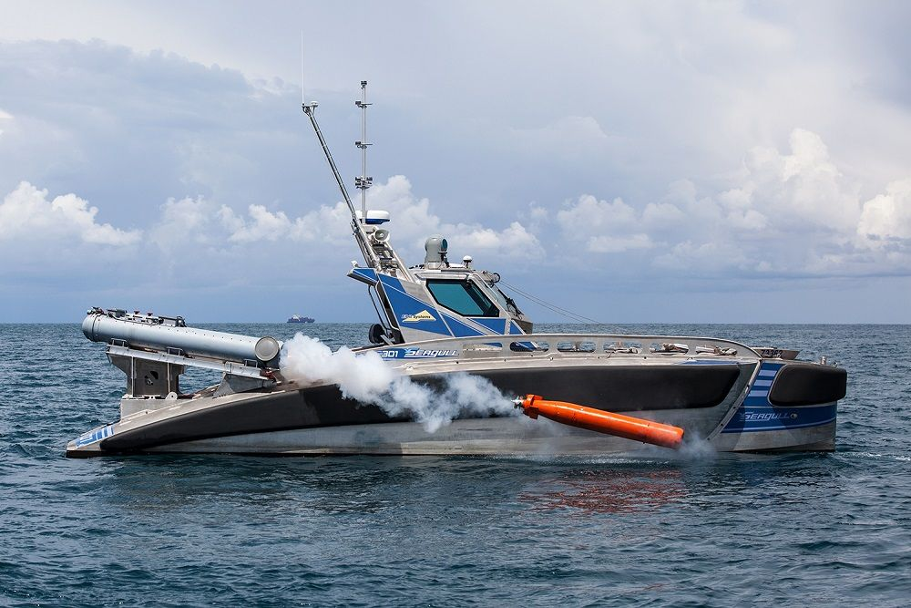 The SEAGULL USV during trials with a torpedo in ASW role. (Photo: Galina Kantor/Elbit Systems) ISDEF
